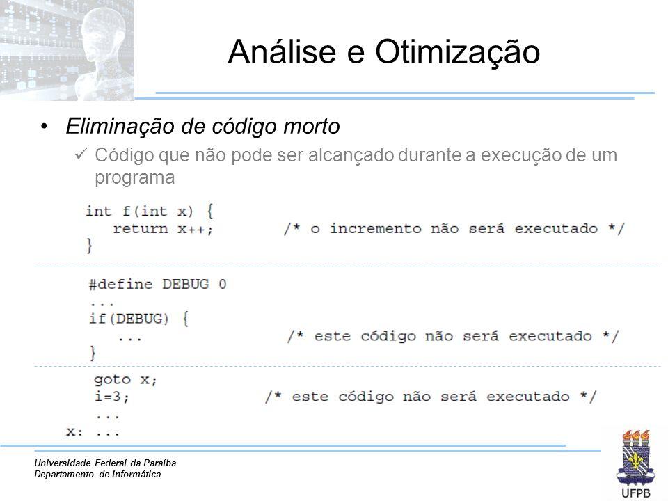 Análise e Otimização Eliminação de código morto
