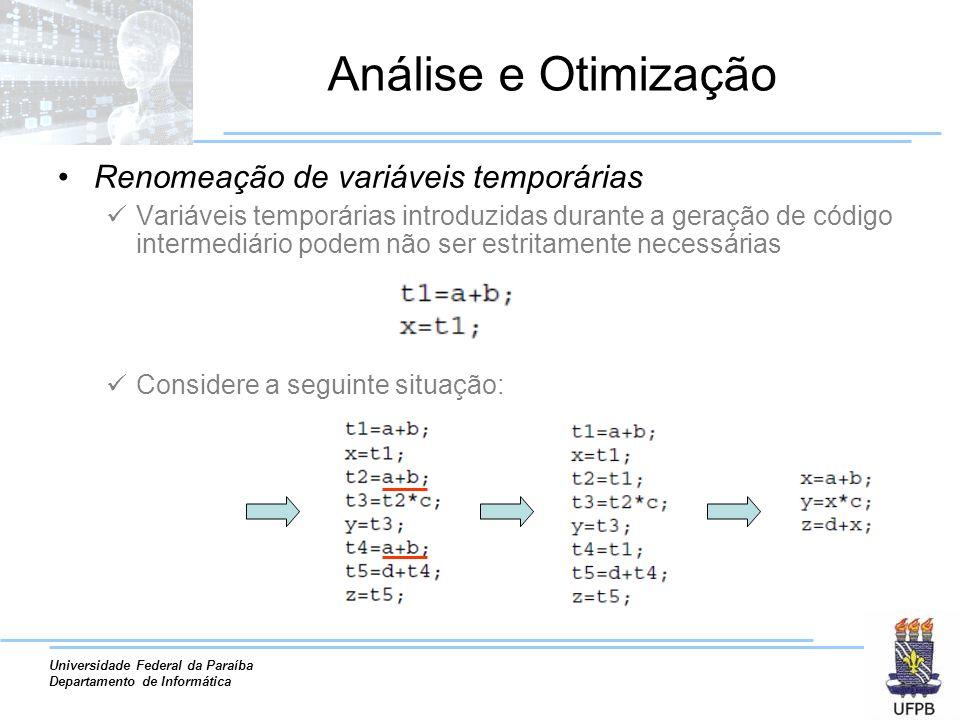 Análise e Otimização Renomeação de variáveis temporárias