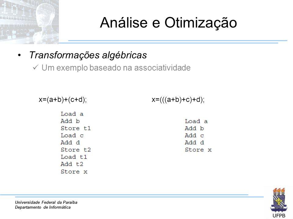 Análise e Otimização Transformações algébricas