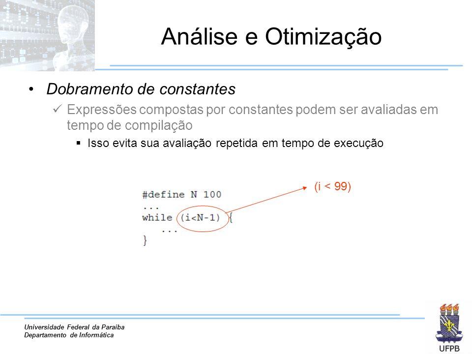 Análise e Otimização Dobramento de constantes