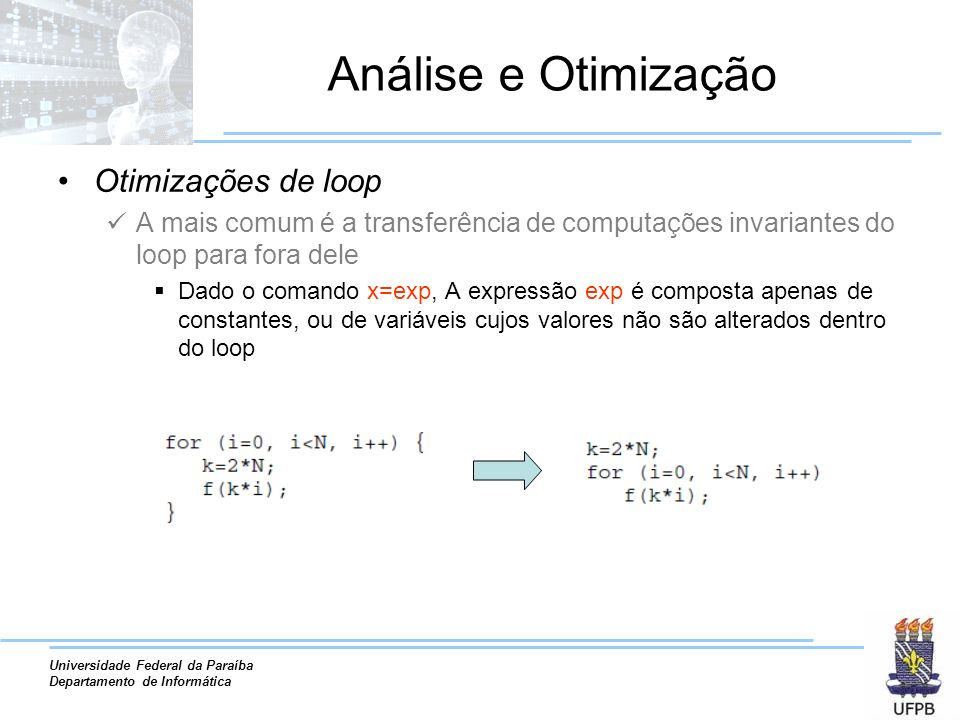 Análise e Otimização Otimizações de loop