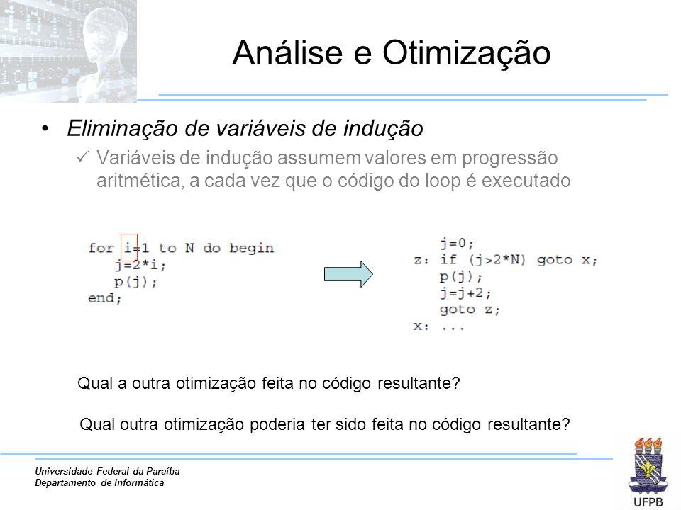 Análise e Otimização Eliminação de variáveis de indução