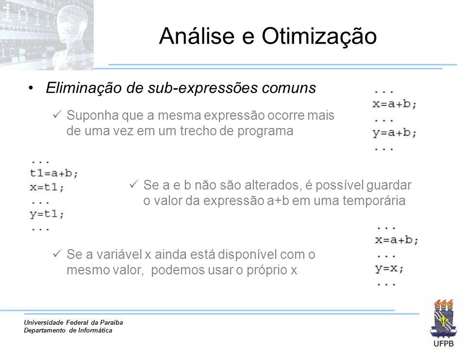 Análise e Otimização Eliminação de sub-expressões comuns