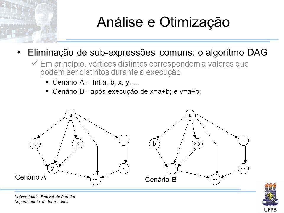 Análise e Otimização Eliminação de sub-expressões comuns: o algoritmo DAG.