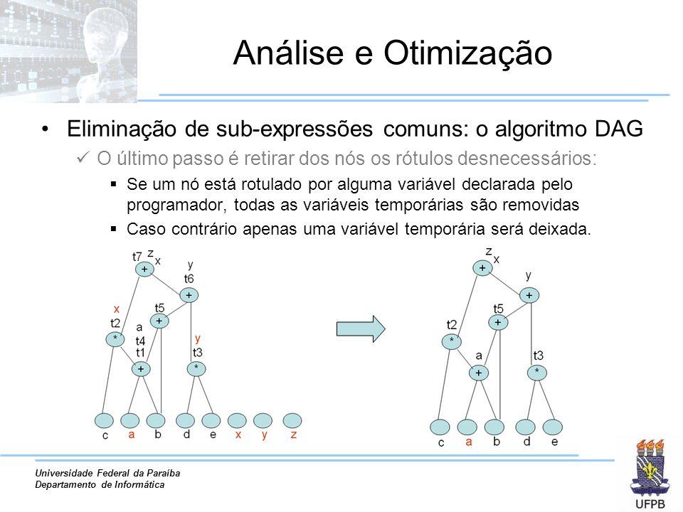 Análise e Otimização Eliminação de sub-expressões comuns: o algoritmo DAG. O último passo é retirar dos nós os rótulos desnecessários: