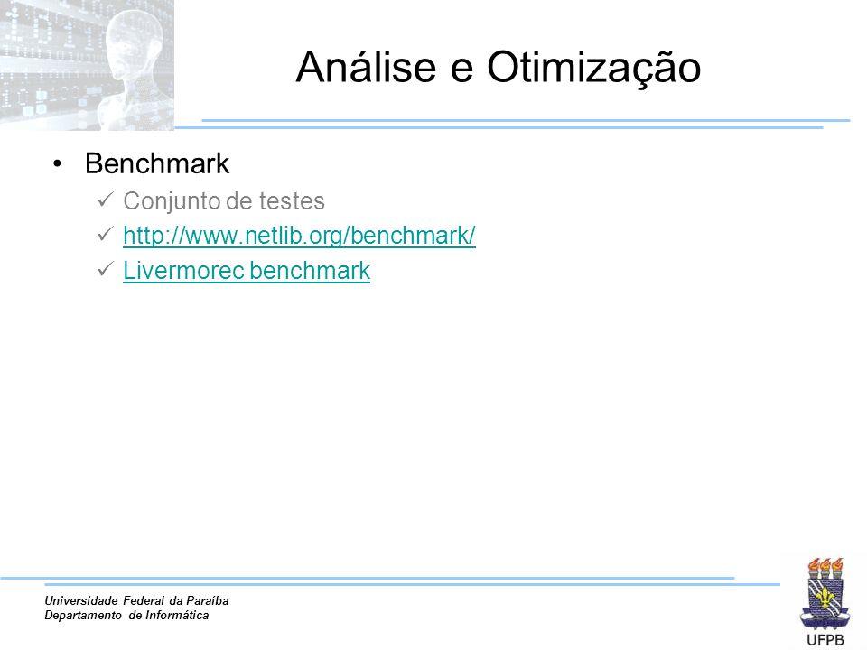 Análise e Otimização Benchmark Conjunto de testes
