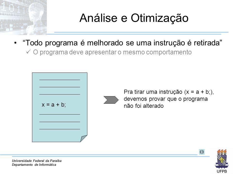 Análise e Otimização Todo programa é melhorado se uma instrução é retirada O programa deve apresentar o mesmo comportamento.