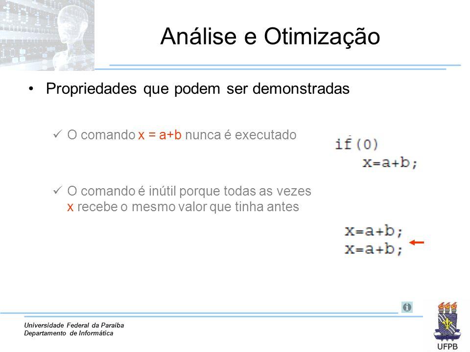 Análise e Otimização Propriedades que podem ser demonstradas
