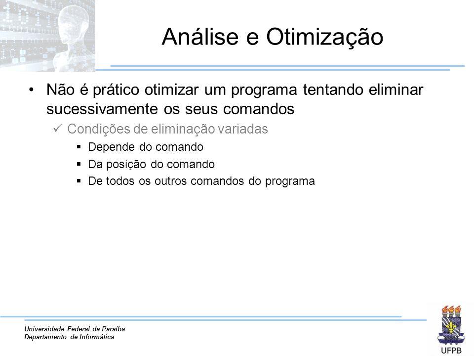 Análise e Otimização Não é prático otimizar um programa tentando eliminar sucessivamente os seus comandos.
