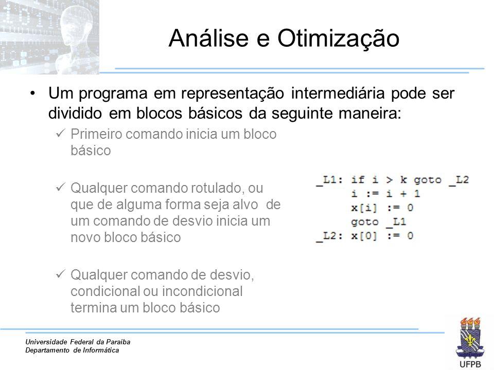 Análise e Otimização Um programa em representação intermediária pode ser dividido em blocos básicos da seguinte maneira: