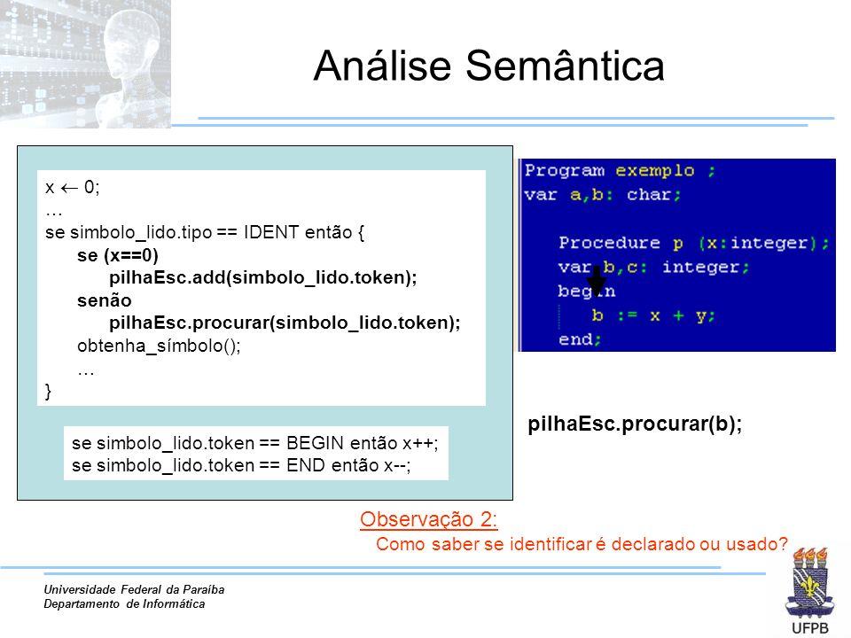 Análise Semântica pilhaEsc.procurar(b); Observação 2: x  0; …