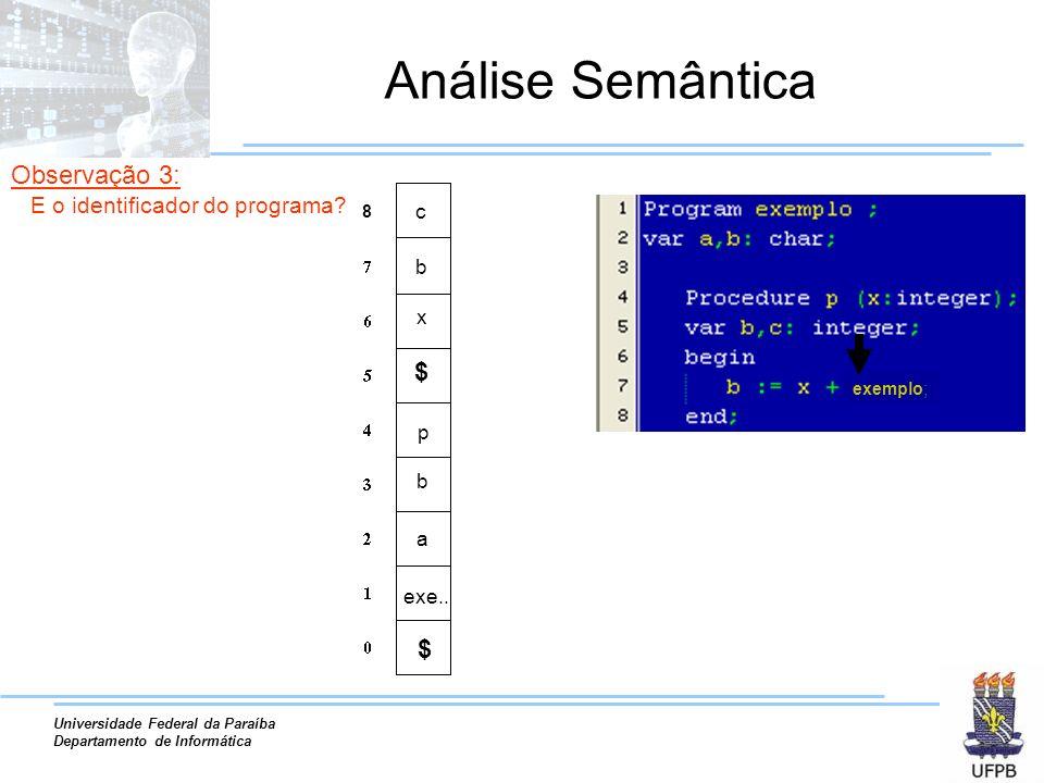 Análise Semântica Observação 3: $ $ E o identificador do programa c b