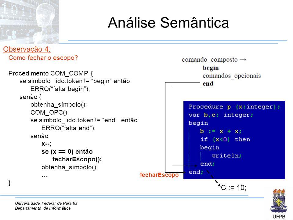 Análise Semântica Observação 4: C := 10; Como fechar o escopo