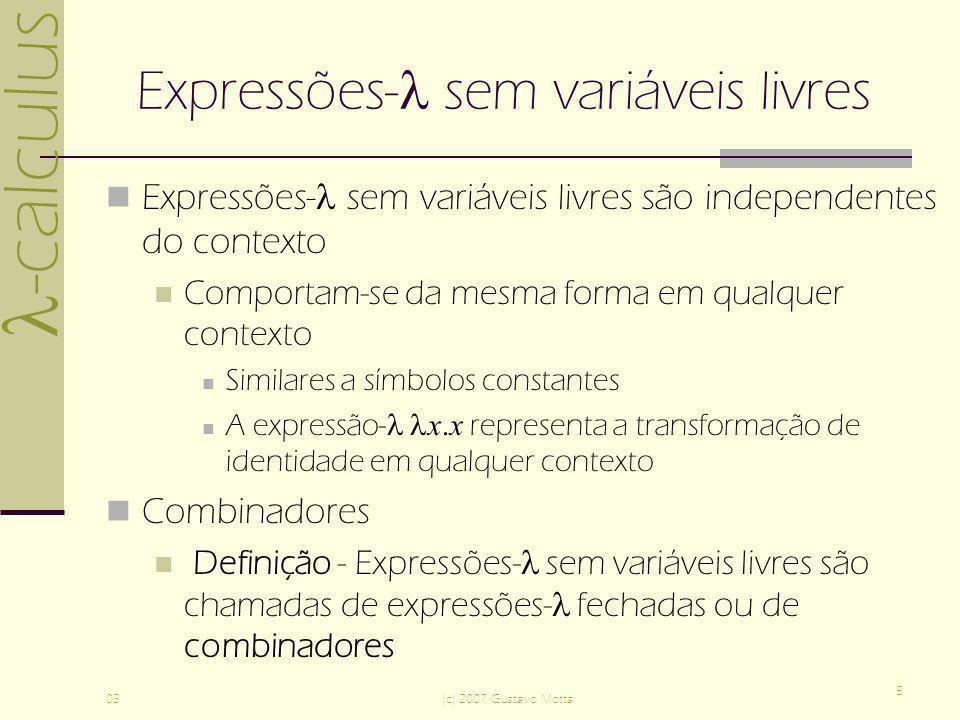 Expressões- sem variáveis livres