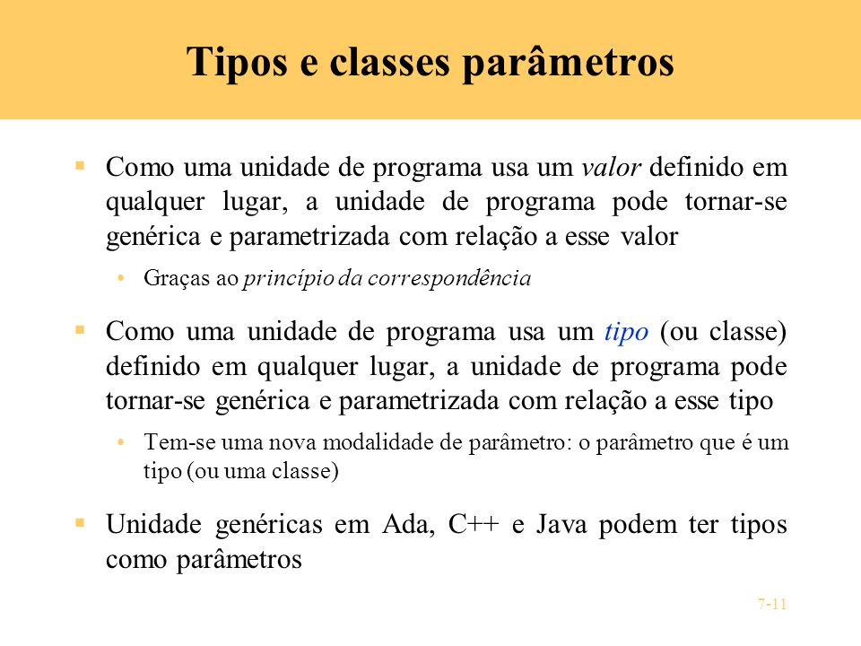 Tipos e classes parâmetros