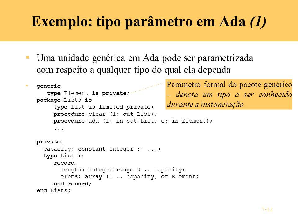 Exemplo: tipo parâmetro em Ada (1)