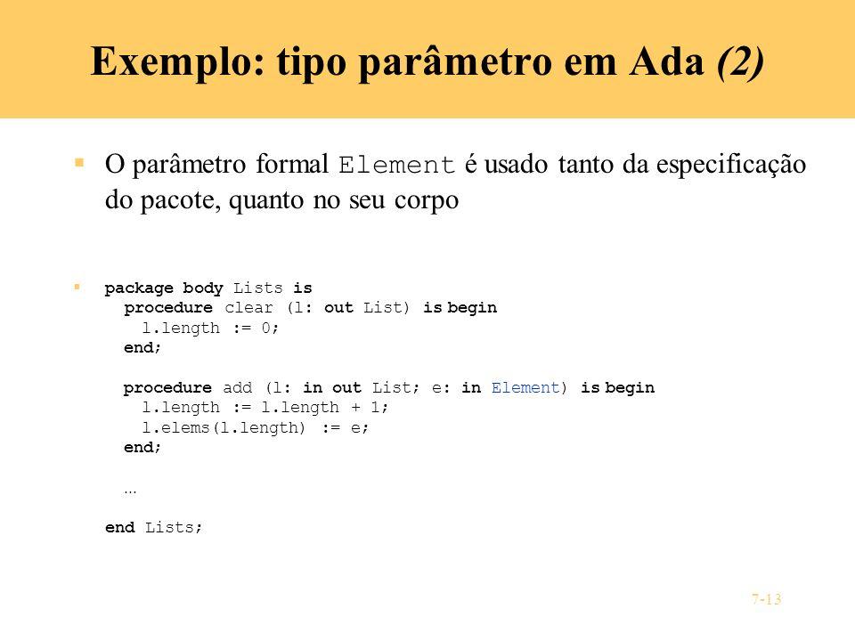 Exemplo: tipo parâmetro em Ada (2)