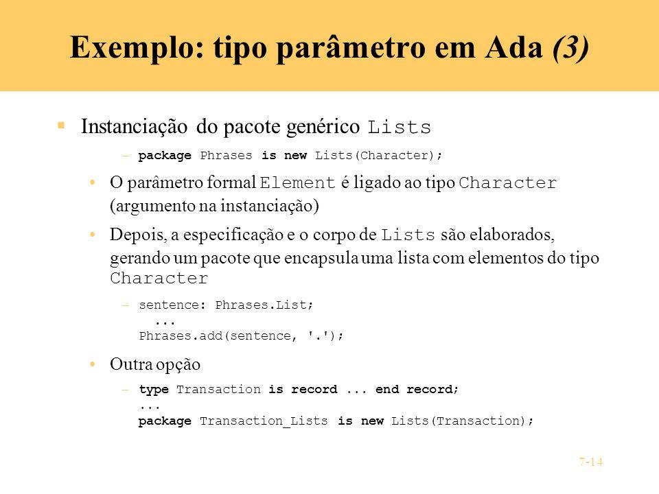 Exemplo: tipo parâmetro em Ada (3)