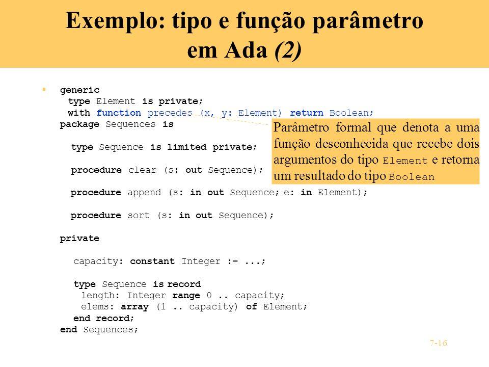 Exemplo: tipo e função parâmetro em Ada (2)
