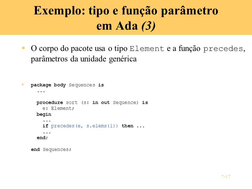 Exemplo: tipo e função parâmetro em Ada (3)