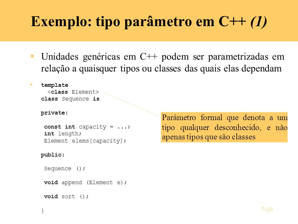 Exemplo: tipo parâmetro em C++ (1)