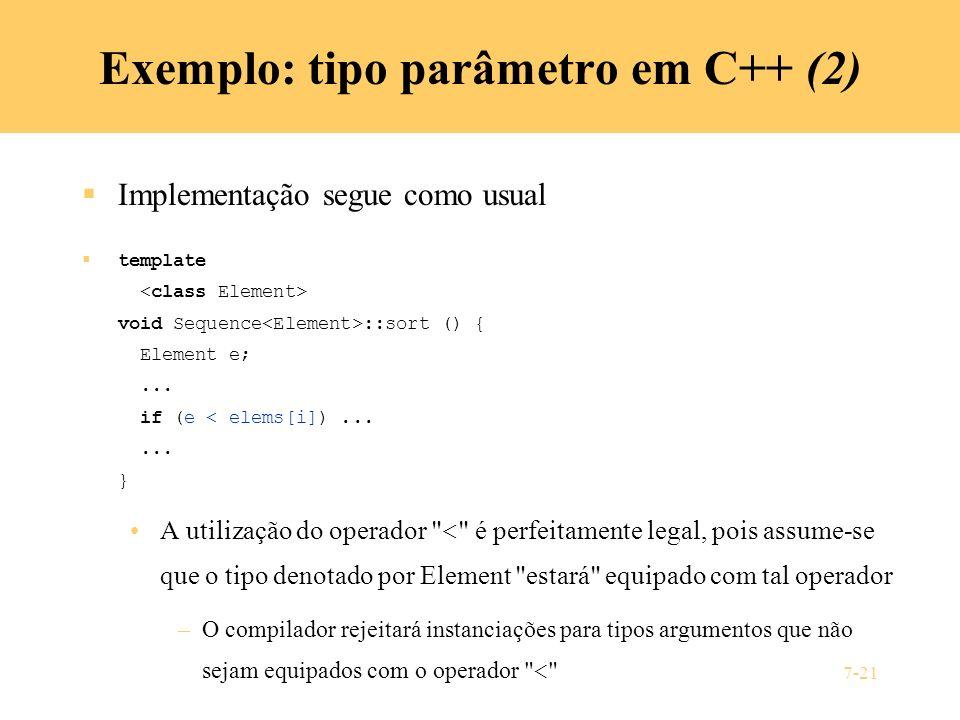 Exemplo: tipo parâmetro em C++ (2)