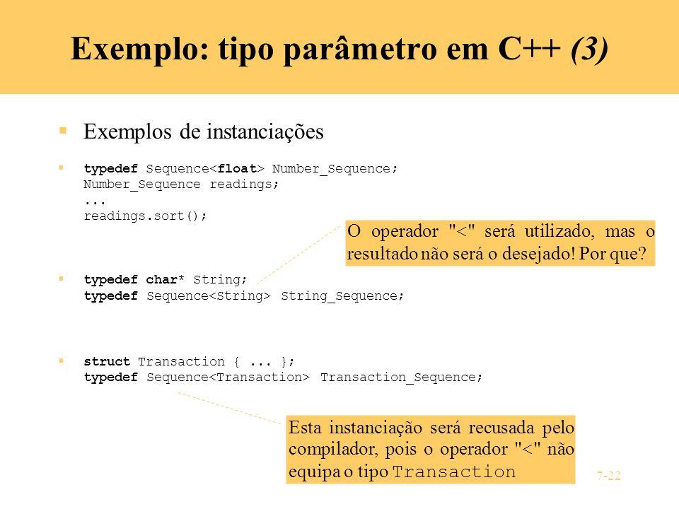 Exemplo: tipo parâmetro em C++ (3)