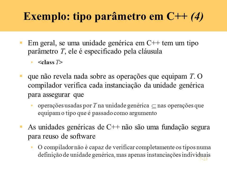Exemplo: tipo parâmetro em C++ (4)