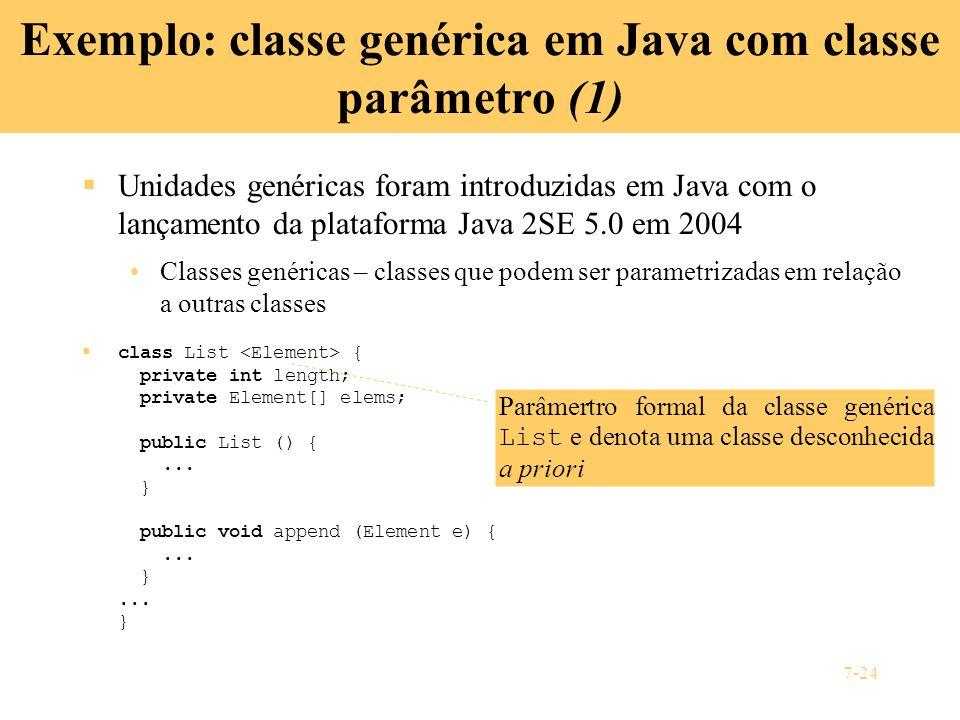 Exemplo: classe genérica em Java com classe parâmetro (1)