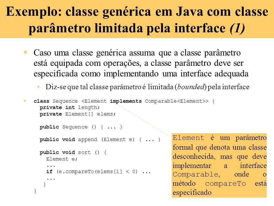 Exemplo: classe genérica em Java com classe parâmetro limitada pela interface (1)