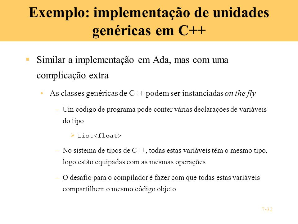Exemplo: implementação de unidades genéricas em C++
