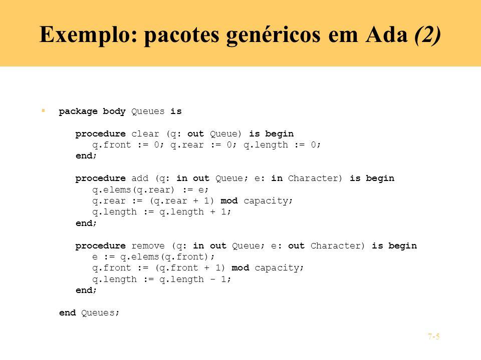 Exemplo: pacotes genéricos em Ada (2)