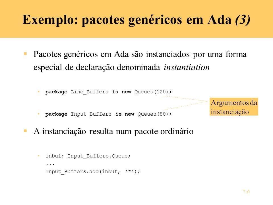 Exemplo: pacotes genéricos em Ada (3)