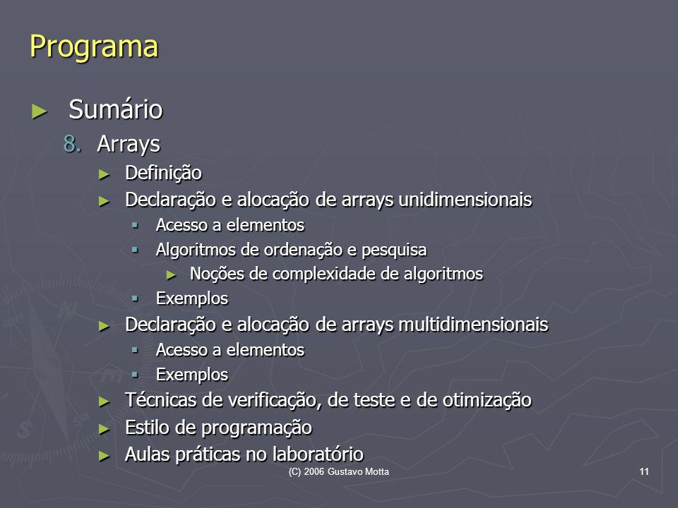Programa Sumário Arrays Definição