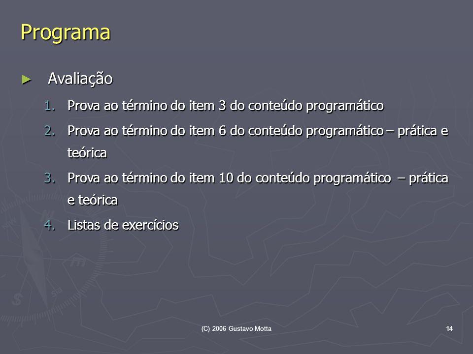 Programa Avaliação Prova ao término do item 3 do conteúdo programático