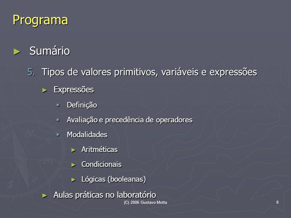 Programa Sumário Tipos de valores primitivos, variáveis e expressões