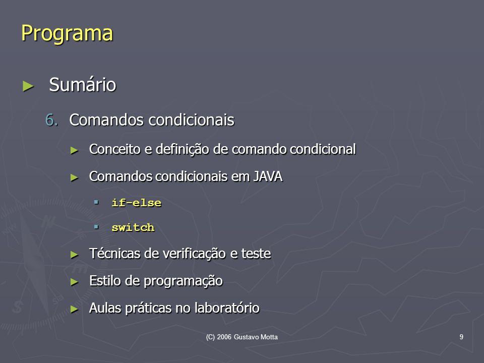 Programa Sumário Comandos condicionais