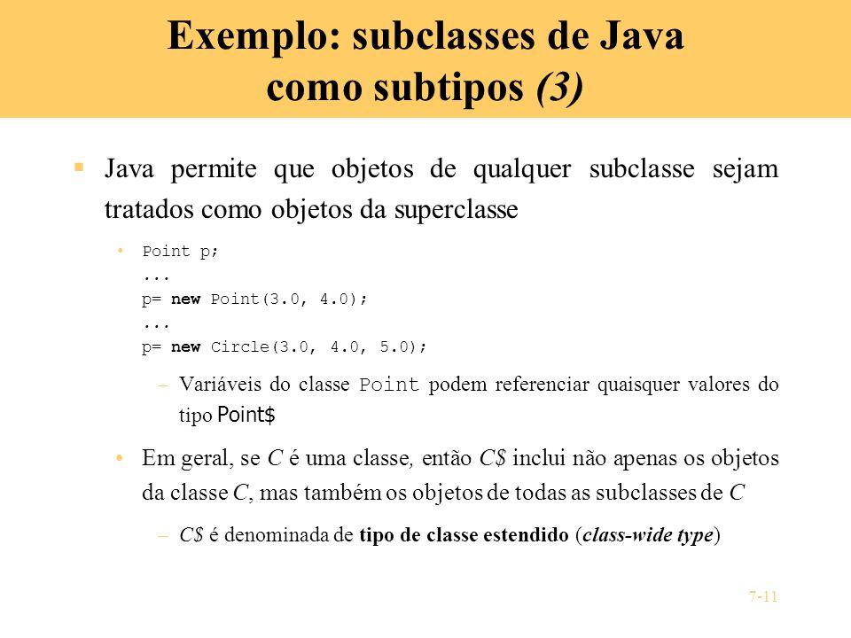 Exemplo: subclasses de Java como subtipos (3)