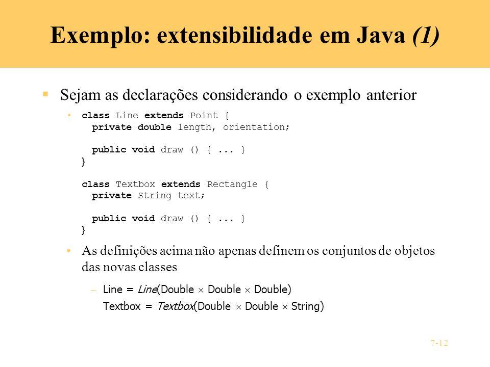 Exemplo: extensibilidade em Java (1)