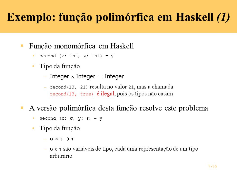 Exemplo: função polimórfica em Haskell (1)