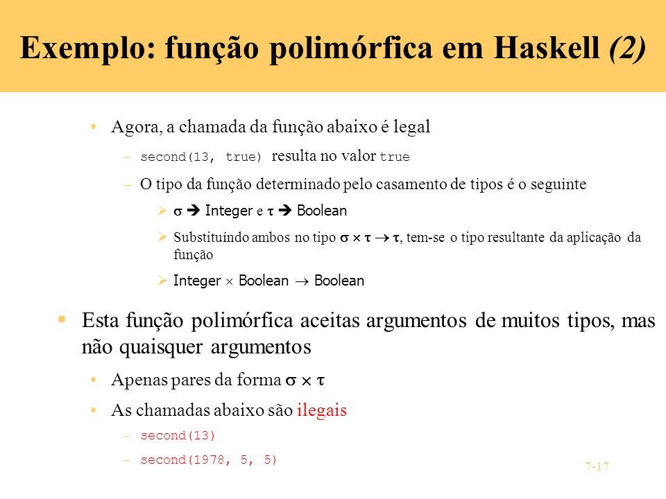 Exemplo: função polimórfica em Haskell (2)