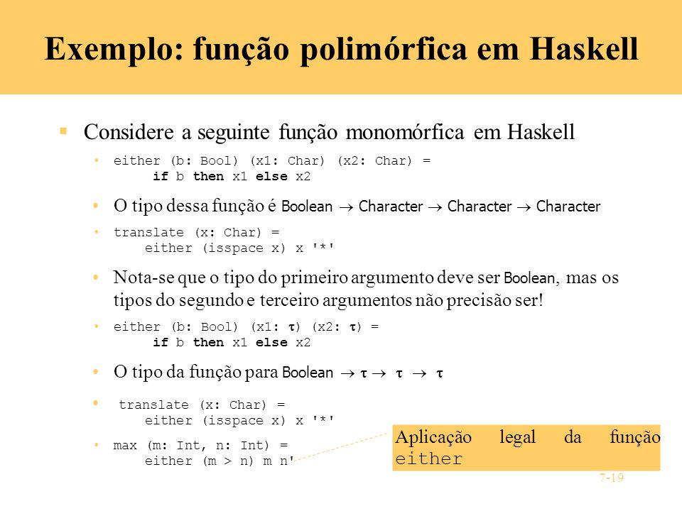 Exemplo: função polimórfica em Haskell