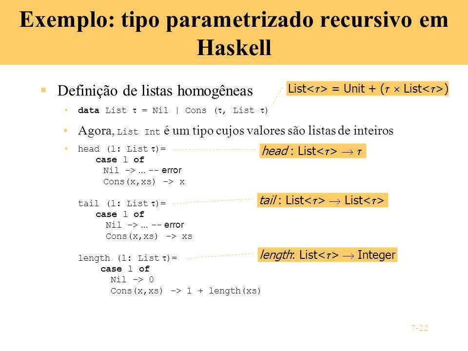 Exemplo: tipo parametrizado recursivo em Haskell