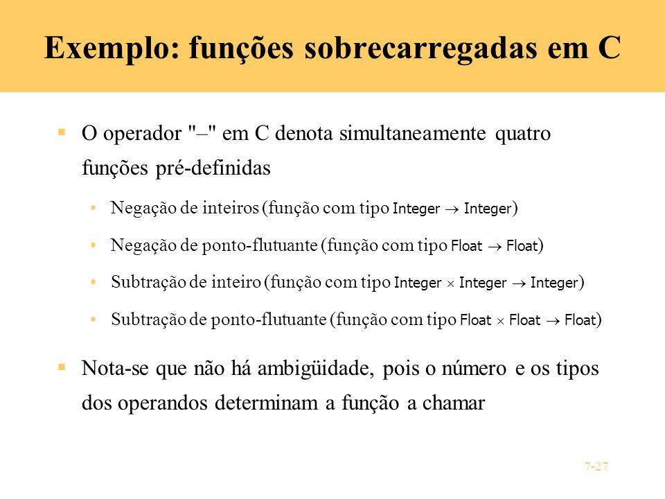 Exemplo: funções sobrecarregadas em C