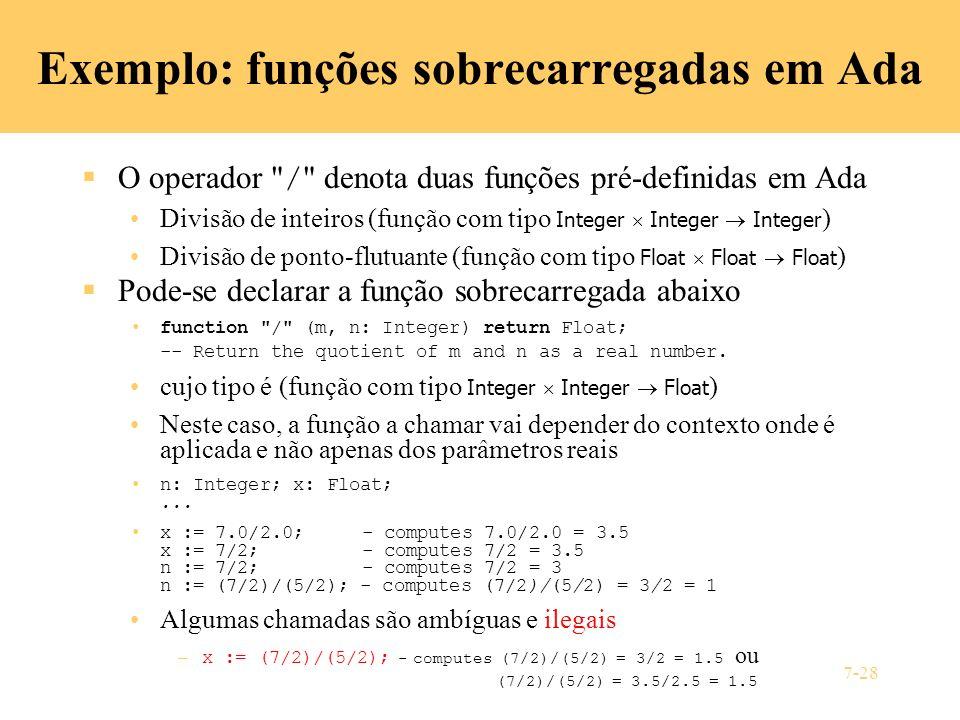 Exemplo: funções sobrecarregadas em Ada