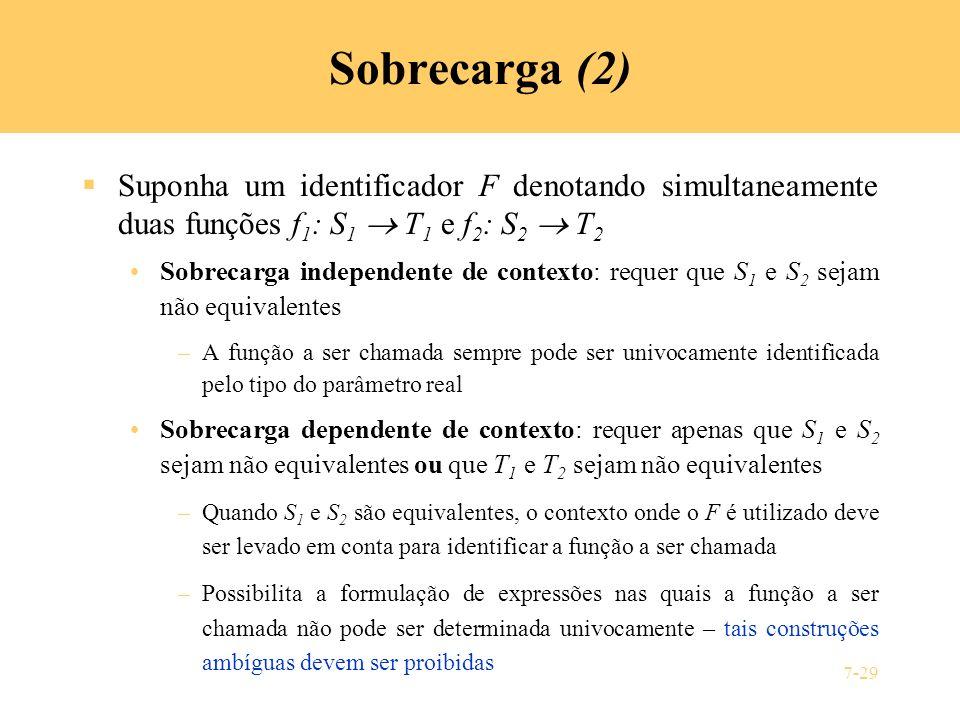Sobrecarga (2) Suponha um identificador F denotando simultaneamente duas funções f1: S1  T1 e f2: S2  T2.