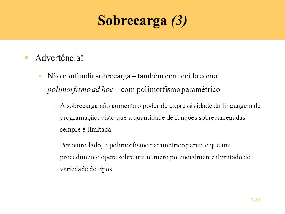 Sobrecarga (3) Advertência!