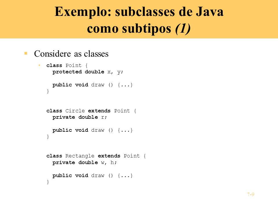 Exemplo: subclasses de Java como subtipos (1)