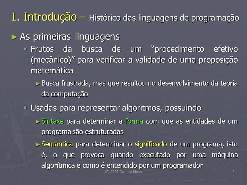 1. Introdução – Histórico das linguagens de programação