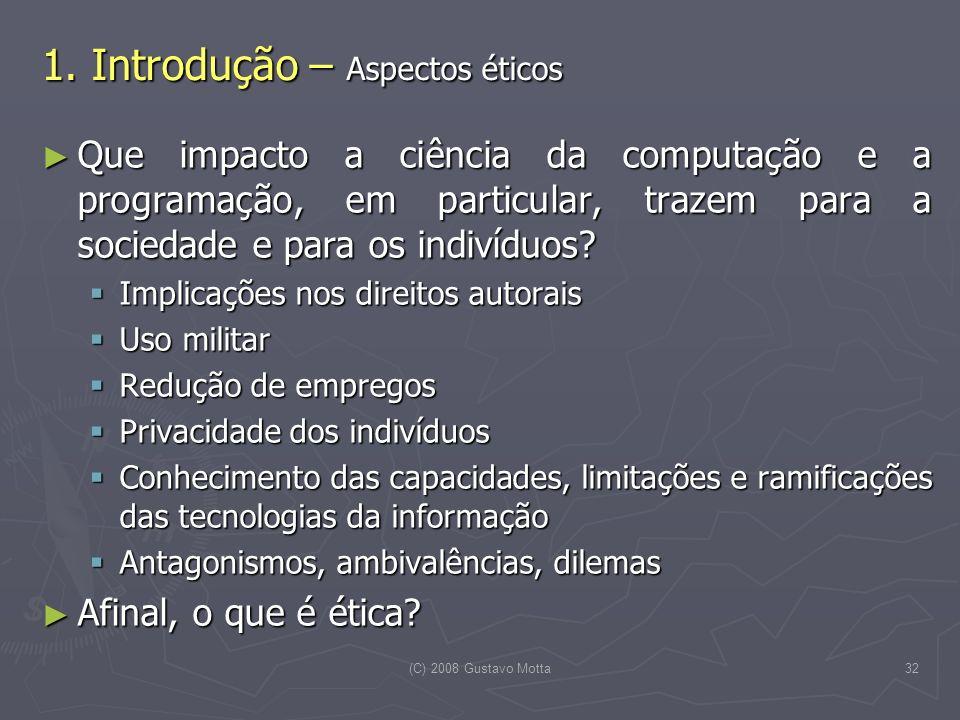 1. Introdução – Aspectos éticos